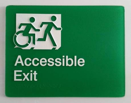 Braille Sign Supplies Accessible exit sign, in green, with Braille and Tactile characters, and accessible means of egress icon wheelchair symbol-min