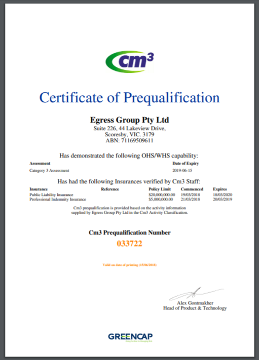 cm3 Certificate of Prequalification