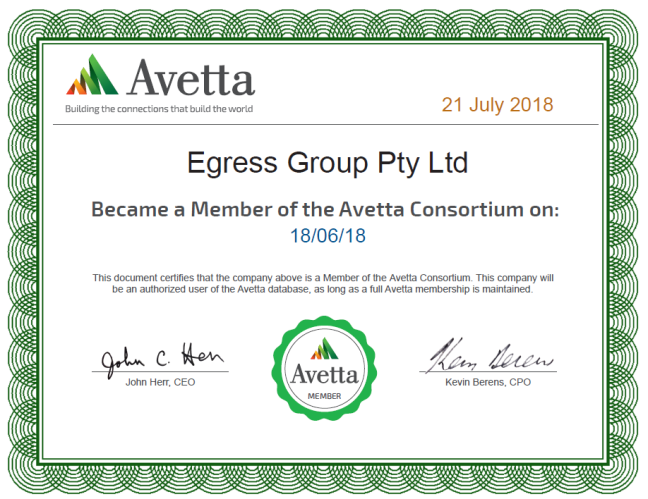 Egress Group Avetta Membership Certificate