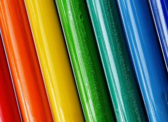 Rows of colourful paint
